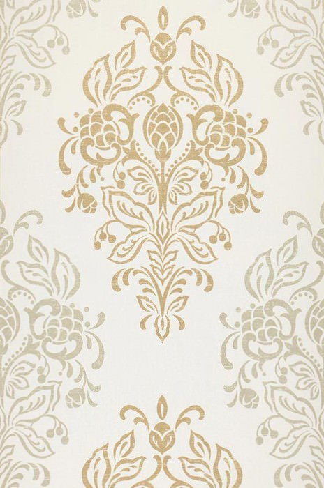 Wallpaper Nammu Fine linen look Shimmering pattern Matt base surface Baroque damask Cream Gold Light pearl beige