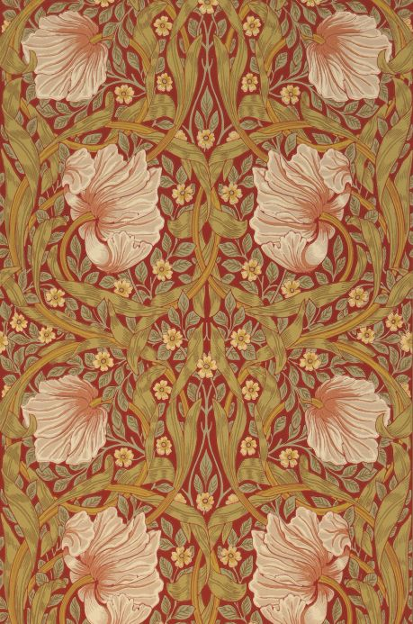 Floral Wallpaper Wallpaper Despina crimson red Bahnbreite