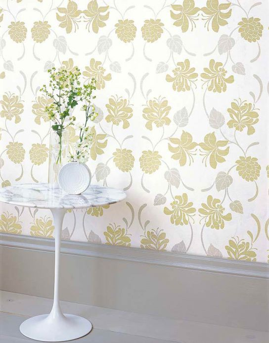 Archiv Wallpaper Isis pale yellow green Room View
