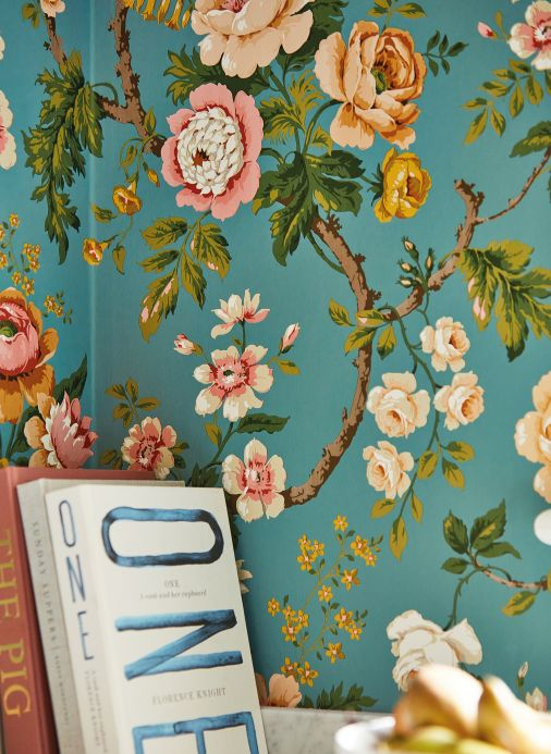 Floral Wallpaper Wallpaper Amalfi turquoise blue Room View