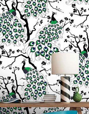 Papel de parede Peacock verde Ver quarto