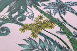 Wallpaper Jaona Matt Palm trees Pale pink Shades of green