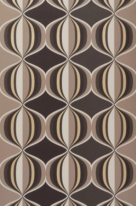 Wallpaper Delos Matt Retro balls Pale brown Dark brown Light beige Light grey brown