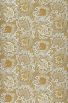 Wallpaper Logobola Shimmering Paisley pattern Stylised blossoms Yellow grey Brown beige Ochre yellow White aluminium
