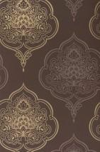 Papel pintado Maharani Mate Damasco barroco Marrón chocolate Oro Marrón grisáceo