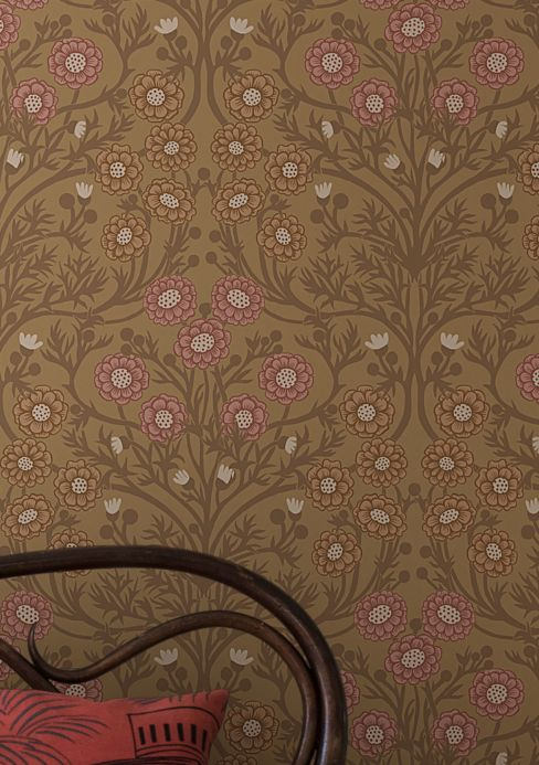 Florale Tapeten Tapete Pelage Braunbeige Raumansicht