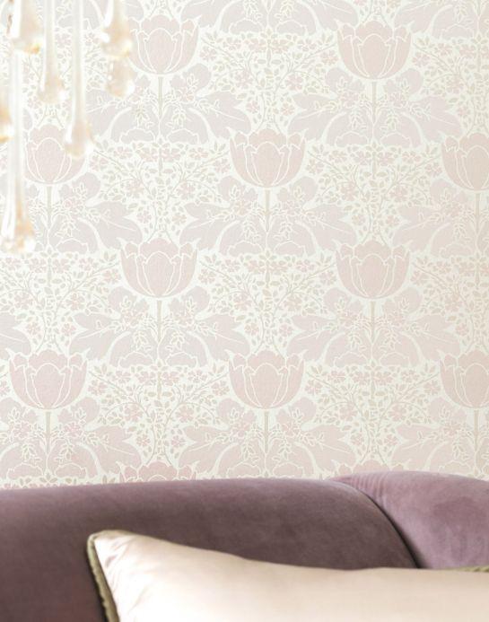 Papel de parede Art Nouveau Papel de parede Marina branco creme Ver quarto