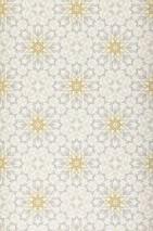 Papier peint Gakido Mat Damassé moderne Fleurs stylisées Blanc crème Gris clair  Jaune pâle Beige gris clair