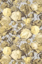Wallpaper Doriana Matt Looks like textile Flowers Bugs Light grey Pale yellow Ivory Yellow grey Grey brown Light ivory
