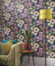 Wallpaper Gadotti Matt Flowers Parrots Steel blue Violet blue Blue Yellow Green Orange Red