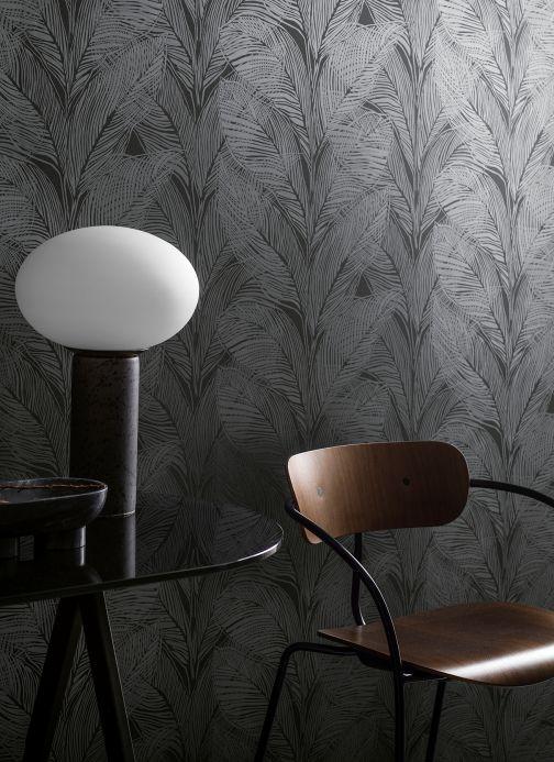 Papel de parede botânico Papel de parede Feodor cinza basalto Ver quarto