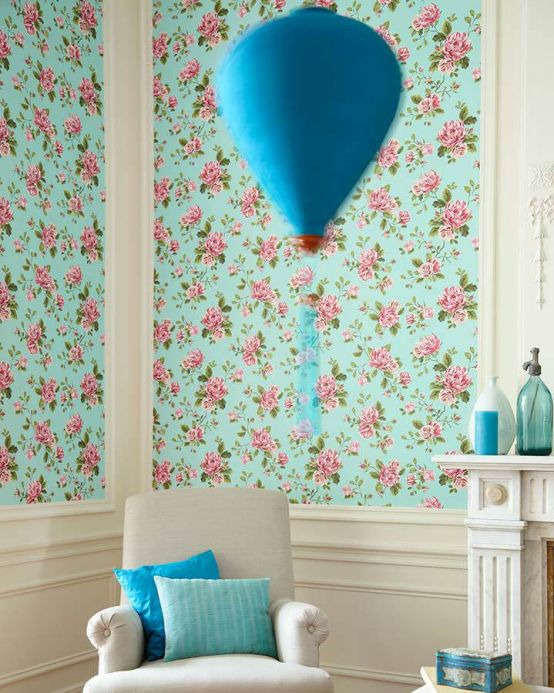 Archiv Wallpaper Isabelle pastel turquoise Room View