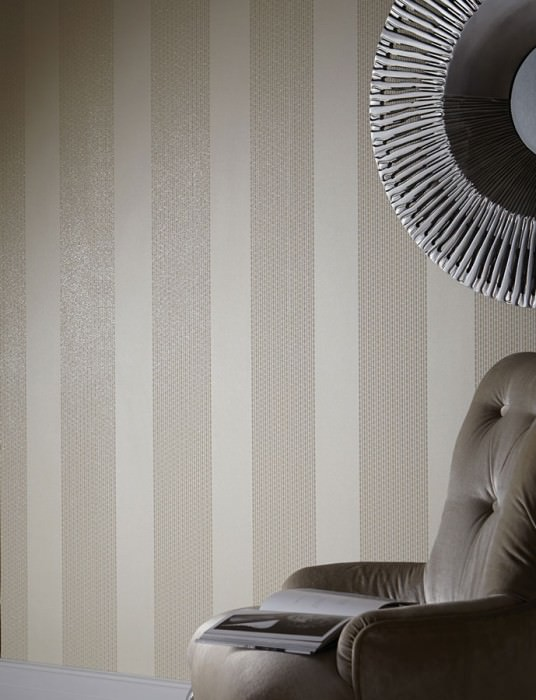 Wallpaper Mendrik Shimmering pattern Matt base surface Stripes Cream Light beige glitter