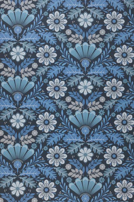 Papel de parede floral Papel de parede Johanna tons de azul Bahnbreite