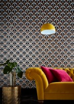 Papel de parede Nerea Padrão brilhante Superfície base mate Elementos gráficos Preto Branco Rosa dourado brilhante