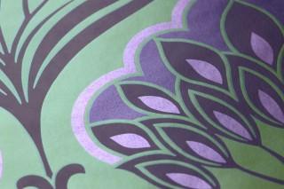 Wallpaper Perdula Shimmering Floral damask Yellow green Dark violet Pearl violet