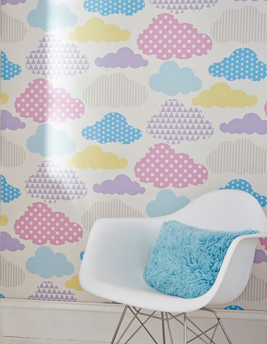 Wallpaper Cendie Matt Clouds White Light blue Light yellow Light grey Light lavender
