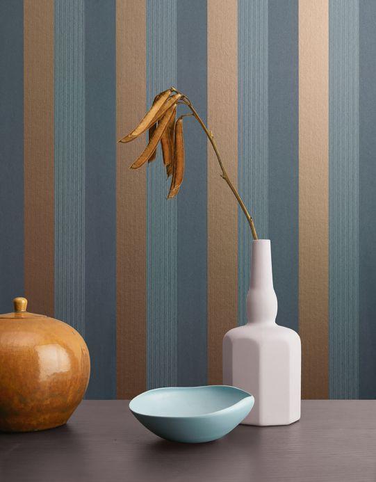 Papel pintado rayas Papel pintado Timbu bronce brillante Ver habitación