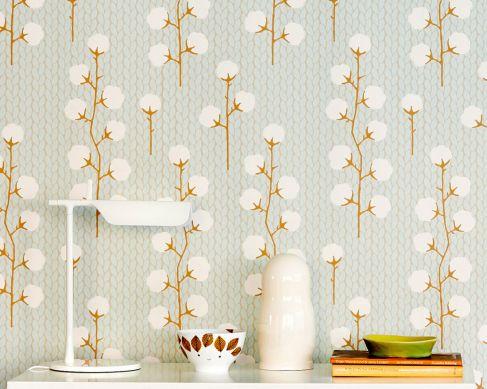 Papel pintado Sweet Cotton turquesa pastel claro Ver habitación