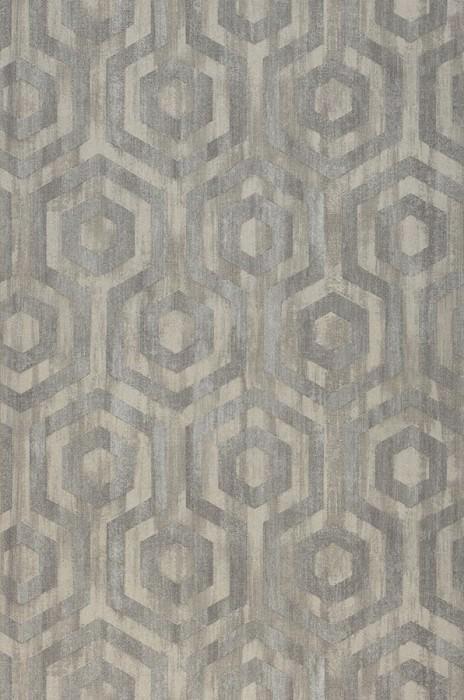 Wallpaper Marno Matt Looks like textile Hexagons Beige grey Light grey beige Grey brown