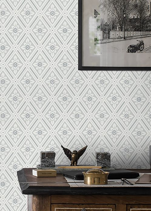 Papel pintado clásico Papel pintado Scala tonos de gris Ver habitación