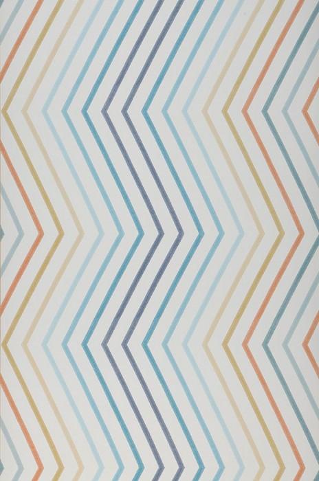 Wallpaper Hornus Matt Zigzag Cream Beige Grey blue Ochre Orange Turquoise blue