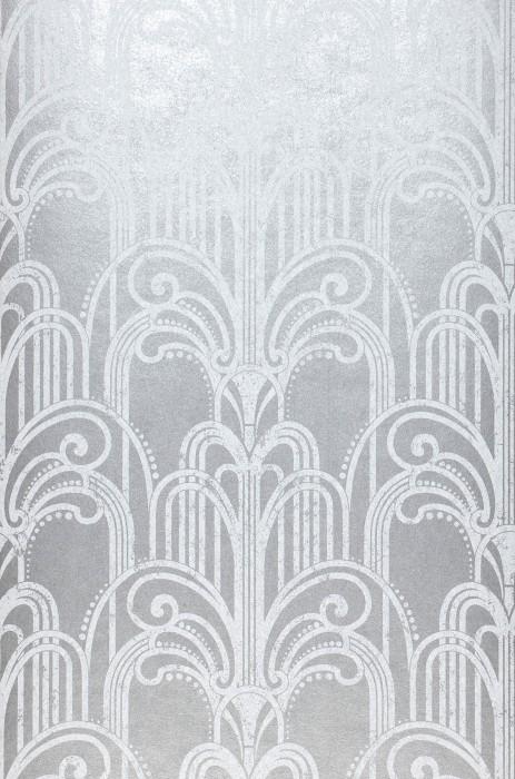 Wallpaper Emilia Matt pattern Shimmering base surface Art Deco Champagne Fountains Grey aluminium White