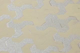 Wallpaper Skylar Shimmering pattern Matt base surface Geometrical elements Green beige Silver