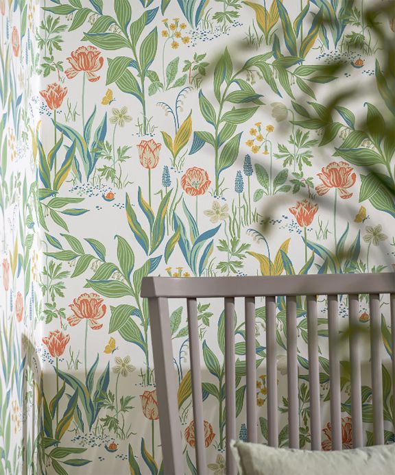 Floral Wallpaper Wallpaper Charlotte cream Room View
