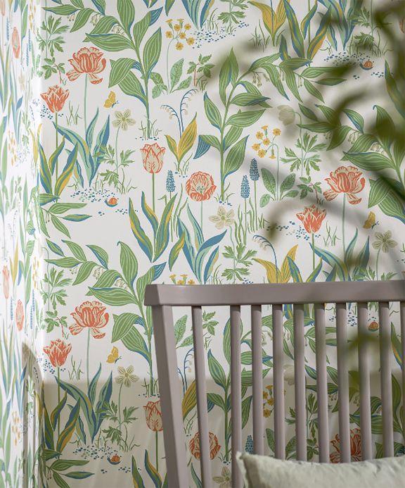 Papel pintado floral Papel pintado Charlotte verde Ver habitación