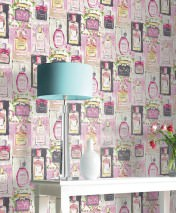 Wallpaper Parfumerie Matt Perfume Bottles Cream Fuchsia Green Rose Black