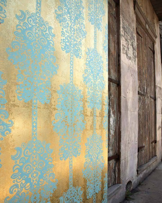 Wallpaper Monaco Metallic effect Matt pattern Modern damask Gold lustre Pastel turquoise