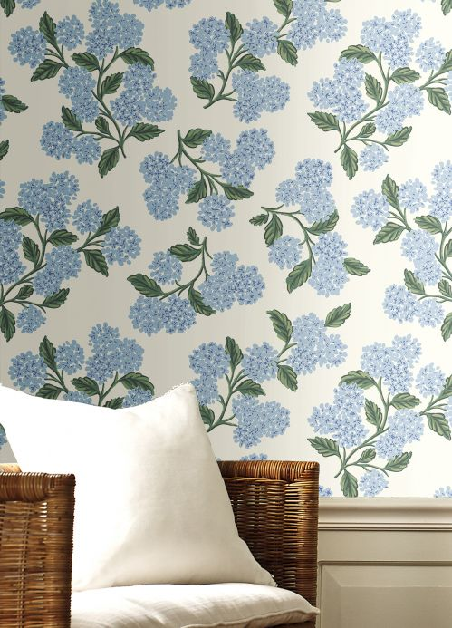 Floral Wallpaper Wallpaper Hydrangea white Room View