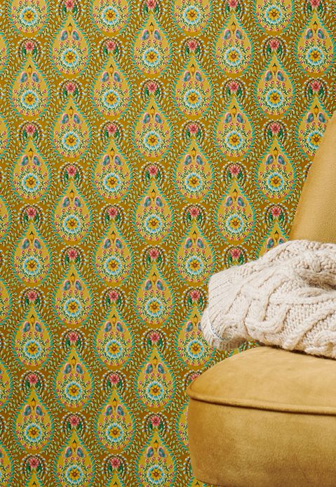 Country style Wallpaper Wallpaper Imaginarium curry yellow Room View