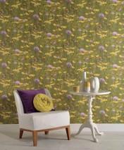 Papel de parede Linaria Mate Flores do campo Amarelo Verde Violeta claro