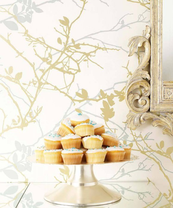 Wallpaper Epona Shimmering pattern Matt base surface Leaves Branches Cream Gold Pastel turquoise