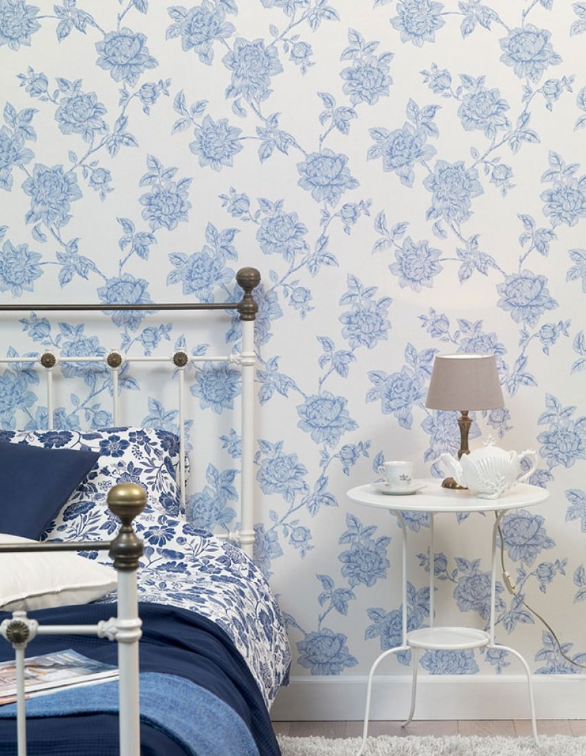 papier peint evangeline blanc cr me bleu brillant bleu. Black Bedroom Furniture Sets. Home Design Ideas