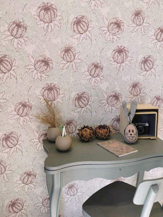 Floral Wallpaper Wallpaper Ardassa grey violet Room View