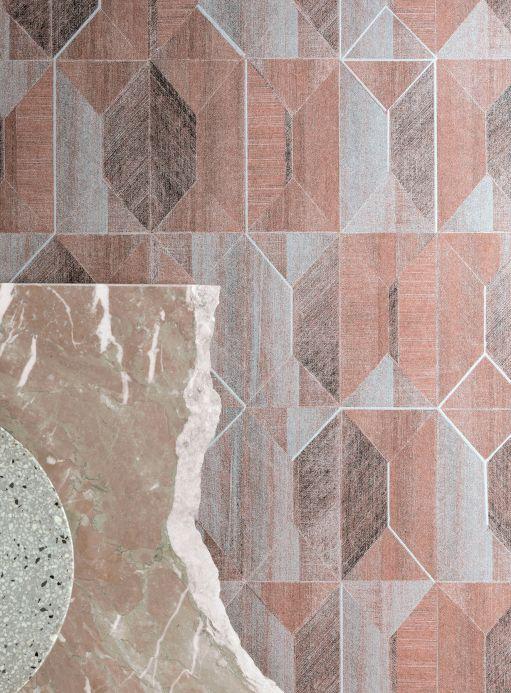 Papier peint géométrique Papier peint Moura tons de brun Vue pièce
