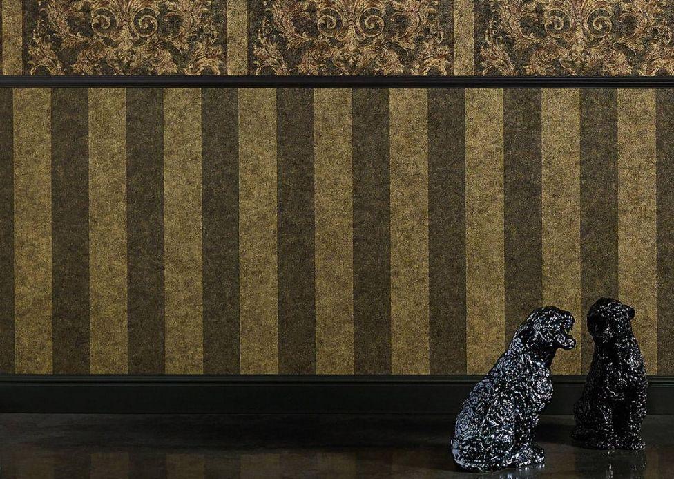 Damask Wallpaper Wallpaper Berenice khaki grey Room View