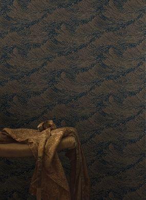 Papel de parede Linara ouro brilhante Raumansicht