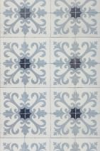 Wallpaper Damascus Matt Imitation tiles Grey Grey white Black blue