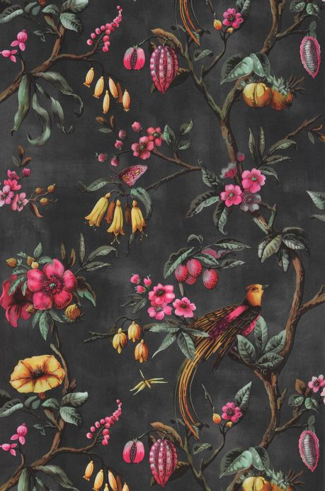 Classic Wallpaper Wallpaper Camille black grey Bahnbreite