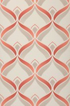 Wallpaper Angus Matt Retro ornaments Cream Light grey beige Coral red