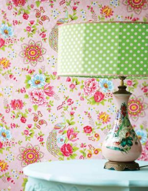 Papel pintado Ludmilla rosa Ver habitación