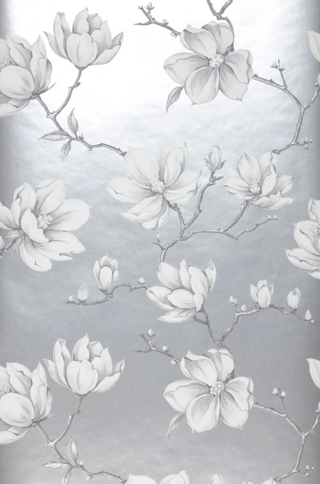 Wallpaper Magnolia Matt pattern Shimmering base surface Branches with leaves and blossoms Pearl light grey Dark grey Light grey White