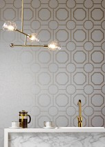 Wallpaper Kalea Shimmering Geometrical elements Octagons Cream Pearl gold
