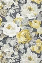 Papier peint Atira Aspect impression à la main Mat Fleurs Gris basalte Gris clair  Jaune olive Blanc Jaune blanc