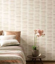 Wallpaper Tallec Matt Graphic elements Stripes Cream Grey beige Orange