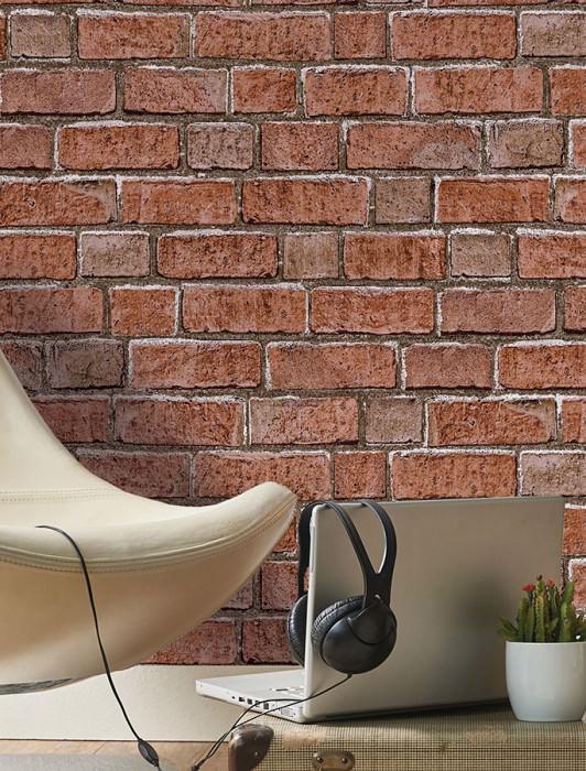 Tapete Country Brick Matt Ziegel Braun Dunkelbraun Kupferbraun